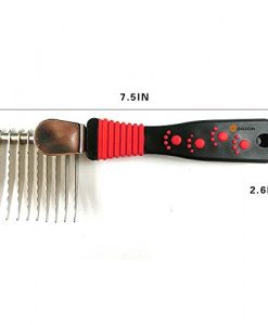 BOGZON-Steel-Pet-Dematting-Comb-Shedding-Brush-for-Dog-Cat-Red-Paw-Print-Pattern-Grooming-Comb-0