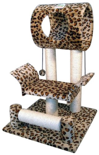 Go Pet Club Cat Tree Condo House, 18W x 17.5L x 28H Inches, Leopard 1