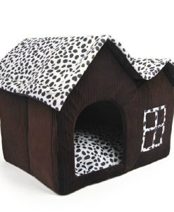Luxury-High-end-Double-Pet-Housebrown-Dog-Room-Cat-Bed-55-X-40-X-42-Cm-0