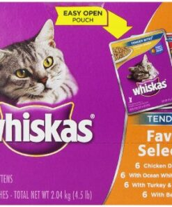 WHISKAS TENDER BITES Favorite Selections Variety Pack Wet Cat Food, (24) 3 oz. Pouches 10