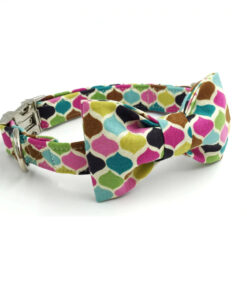 Colourful Dog or Cat Collar with Bowtie 8